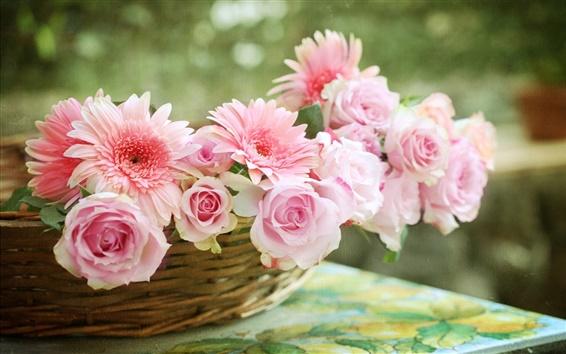 Wallpaper Pink rose, gerbera daisies, basket