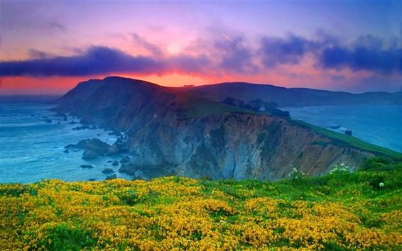 Fond d'écran Point Reyes National Seashore, Californie, États-Unis, nuages, coucher de soleil, l'océan