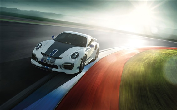 Fond d'écran Porsche 911 Turbo supercar, la lumière du soleil