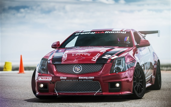Wallpaper Red Cadillac CTS-V race car