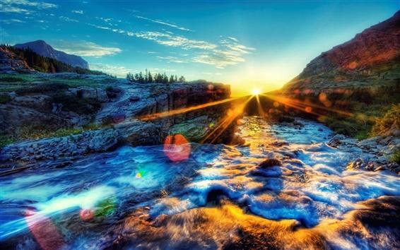 Wallpaper River, morning, sun, sunrise