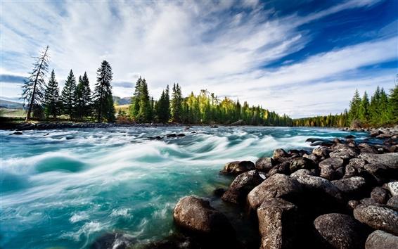 Fond d'écran Rivière, rochers, arbres, nuages