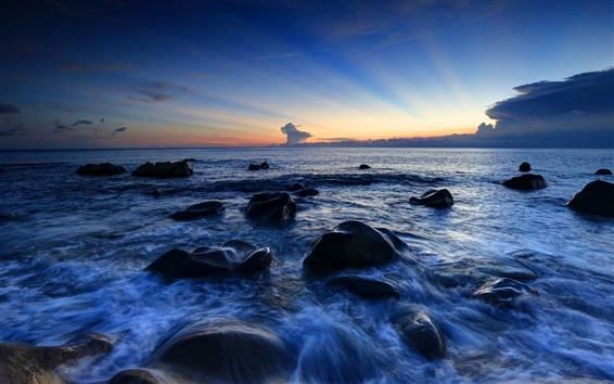 Fondos de pantalla Rocas, mar, costa, cielo, noche, puesta del sol
