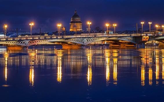 Fond d'écran Saint-Pétersbourg, en Russie, nuit, lumières, pont, rivière