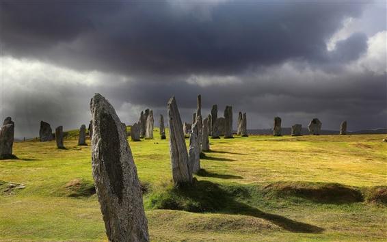 Papéis de Parede Pedras, pedregulhos, grama, nuvens