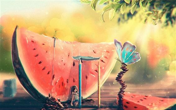 Wallpaper Summer, watermelon, girl, butterfly, art painting