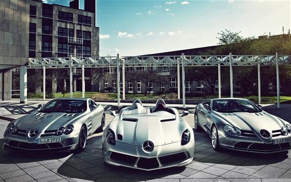 Wallpaper Three sports cars, Mercedes-Benz cars