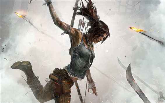 Wallpaper Tomb Raider, Lara Croft, blood, fire, artwork