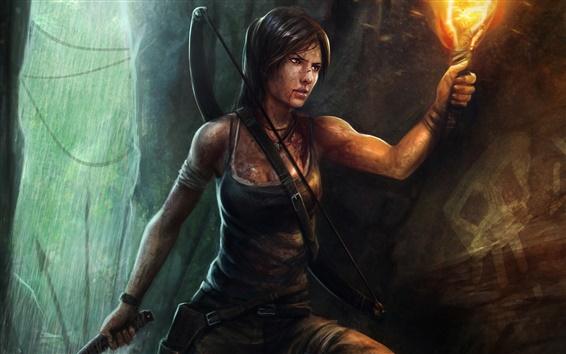 Wallpaper Tomb Raider, Lara Croft, girl, torch