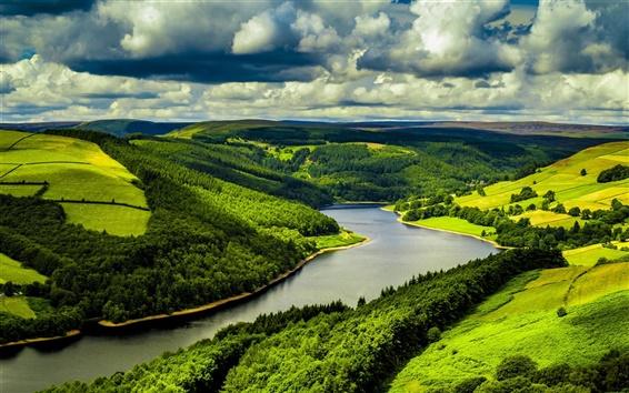 Обои Великобритания, река, поля, лес, облака, природа пейзаж