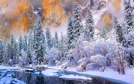 Wallpaper USA, California, Yosemite National Park, winter, forest, river, snow
