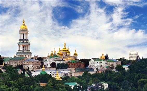 Wallpaper Ukraine, temple, monastery, city, sky, clouds