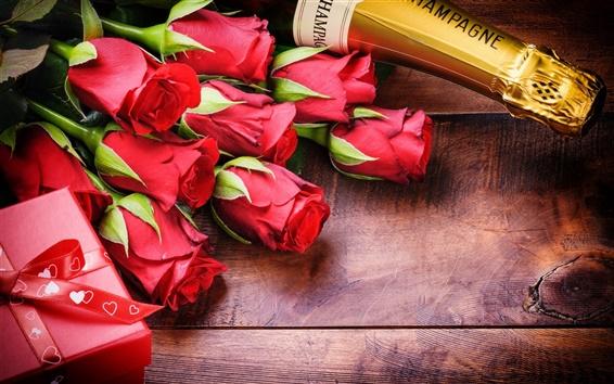 Fond d'écran Jour, romantique, rose, champagne Saint-Valentin
