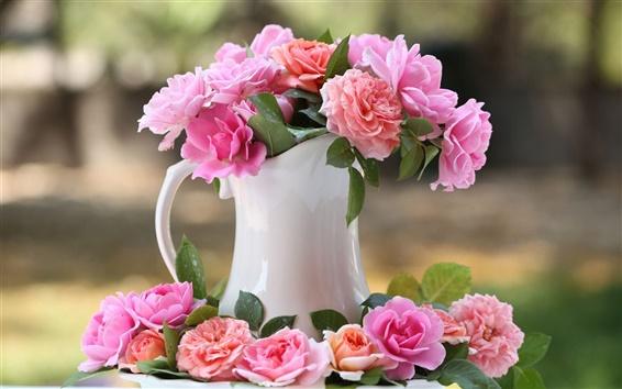 Wallpaper Vase, pink rose flowers, bokeh