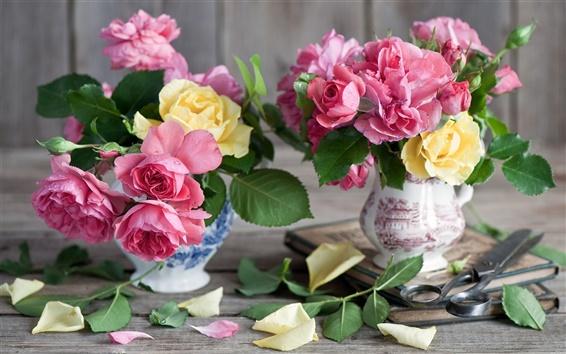 Wallpaper Vase, pink yellow flowers, roses, book, scissors