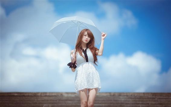 Wallpaper White dress Asian girl, umbrella, blue sky
