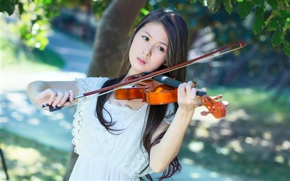 Wallpaper White dress Asian girl, violin, music