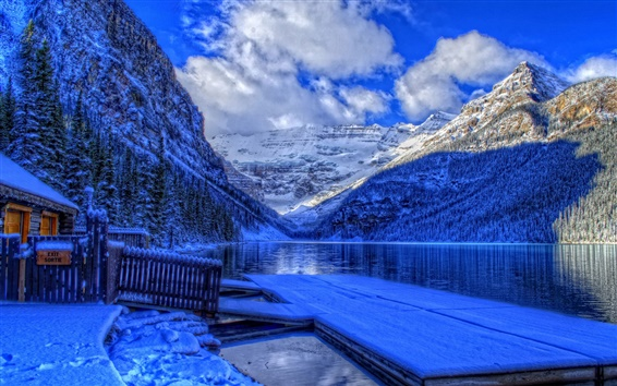 Wallpaper Winter, Banff National Park, Alberta, Canada, lake, snow, house