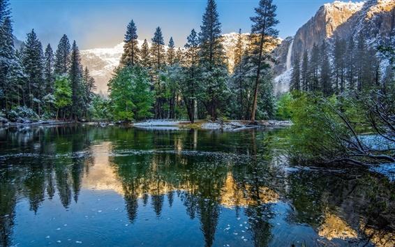 Papéis de Parede Inverno, montanhas, árvores, lago, parque nacional de Yosemite, EUA, Califórnia