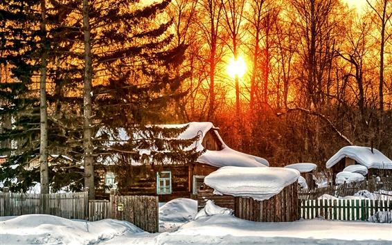 壁紙 冬、木、家、日の出、雪