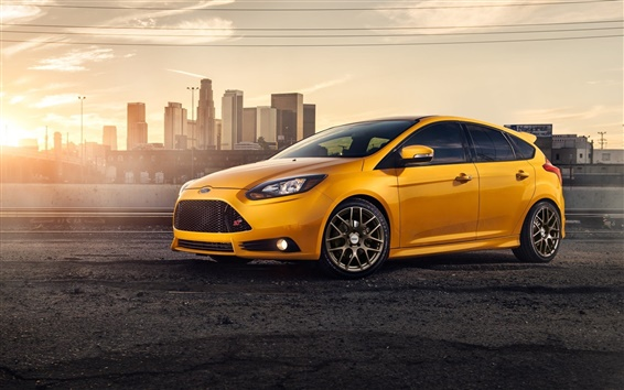 Wallpaper Yellow Ford Focus ST car side view