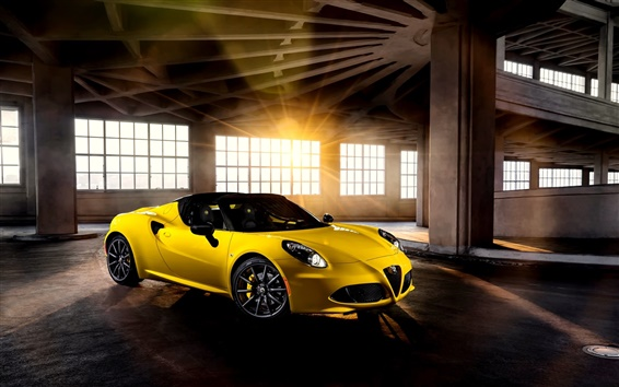 Wallpaper 2015 Alfa Romeo 4C yellow supercar