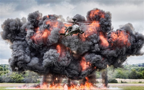 Wallpaper AH-64 Apache helicopter, explosion