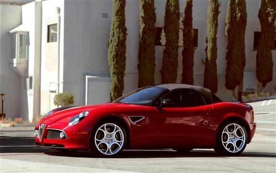 Fondos de pantalla Alfa Romeo 8C Spider supercar rojo
