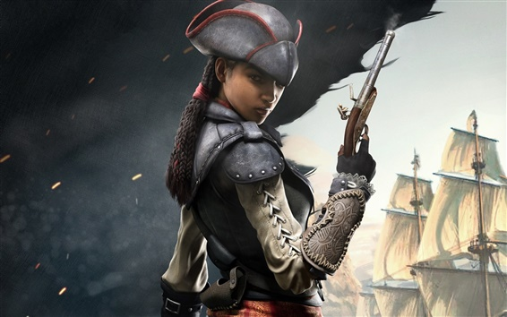 Wallpaper Assassin's Creed IV: Black Flag, girl assassin