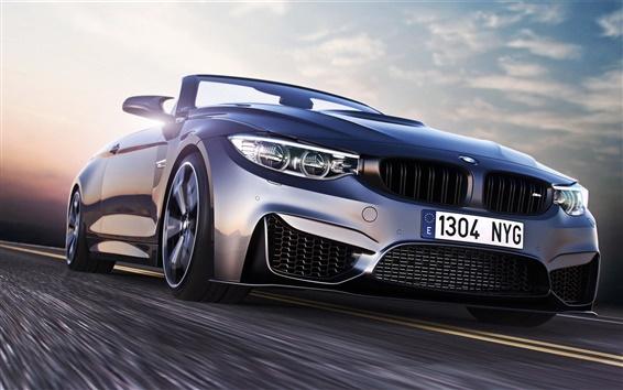 Обои BMW M4 вид спортивный автомобиль спереди, скорость, дорога