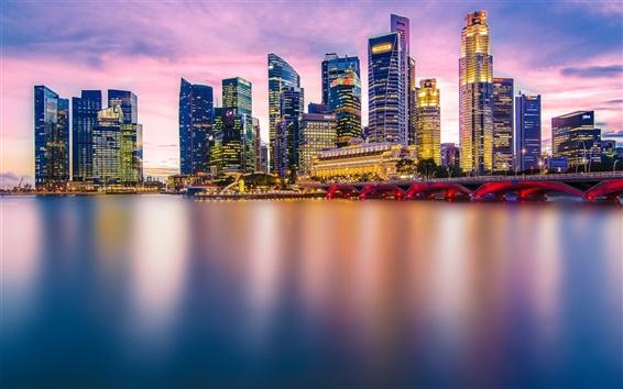 Обои Красивый город, Сингапур, вечер, огни, небоскребы, мост, залив