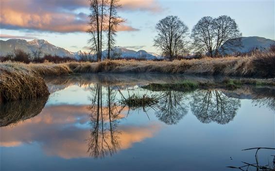Wallpaper British Columbia, Canada, lake, trees, mountains, grass