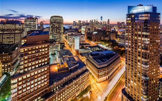 Wallpaper Brooklyn, New York City, USA, city, night, skyscrapers, lights