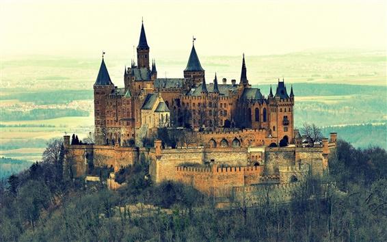 Fondos de pantalla Castillo de Burg Hohenzollern, Alemania, montaña