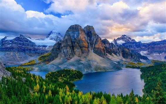 Wallpaper Canada, Alberta, mountains, lakes, forest, autumn