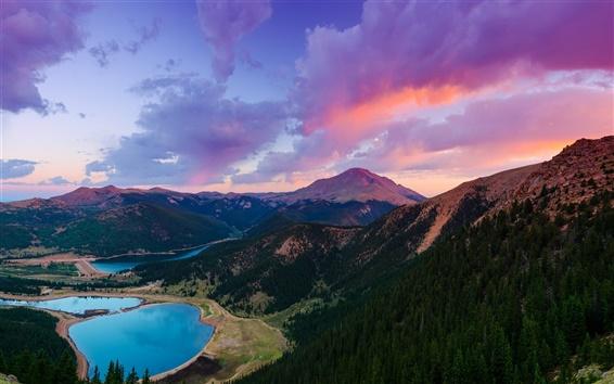 Fond d'écran Colorado, États-Unis, montagne, Pikes Peak, lac, forêt, coucher de soleil