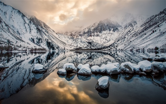 Wallpaper Convict Lake, Mount Morrison, California, USA, mountains, rocks, winter