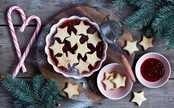 Обои Cookies, Рождество, джем, пихта, конфеты