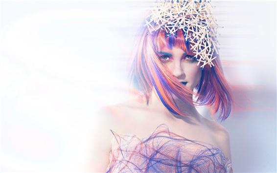 Wallpaper Creative picture, girl portrait, colorful, matches