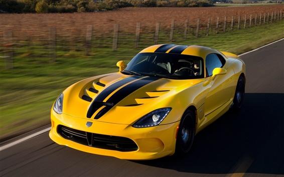 Papéis de Parede Dodge Viper SRT GTS supercar amarelo