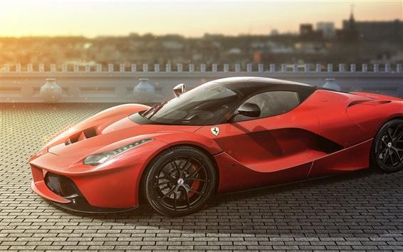 Обои Ferrari LaFerrari красный суперкар вид сбоку, дорога