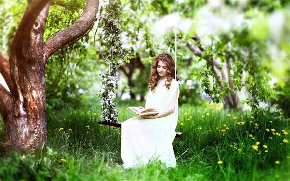 Обои Трава, дерево, весна, белое платье девушка читать книгу