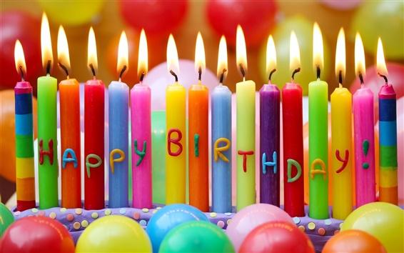 Обои С Днем Рождения, красочные свечи, воздушные шары