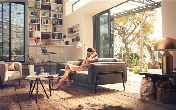 Wallpaper Interior design, girl, home, furniture