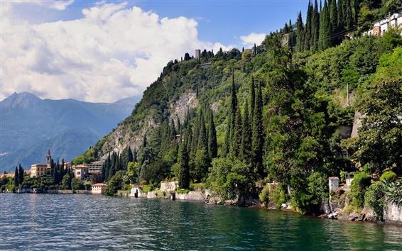 Fond d'écran Italie, Côme, lac, montagnes, arbres, maisons