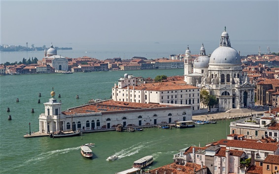 Wallpaper Italy, Rome, city, houses, sea, boats