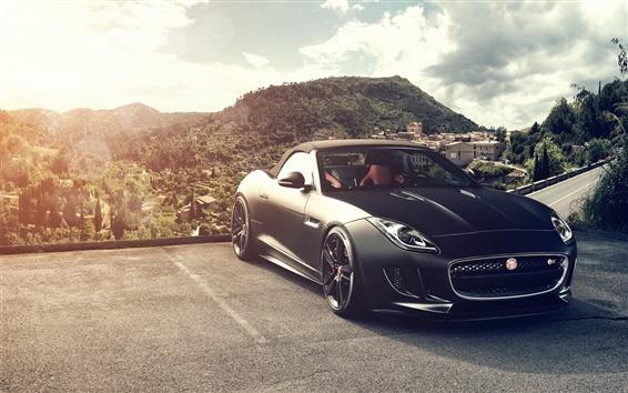 Fond d'écran Voiture noire la vue de face de Jaguar F-Type V8