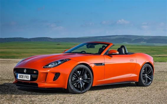 Papéis de Parede Jaguar F-Type V8 S carro laranja