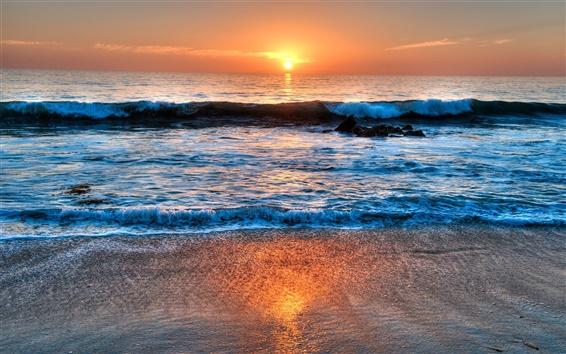 Fond d'écran Laguna Beach, Californie, États-Unis, la mer, le coucher du soleil, nuages