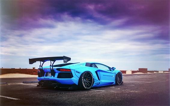 Обои Lamborghini Aventador LP700-4 Синяя акула суперкар